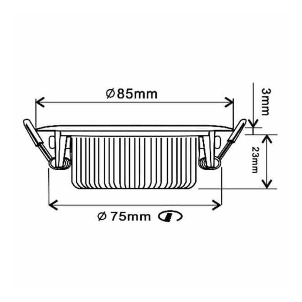 LED Inbouw spot RVS - Dimbaar - kantelbaar - lage inbouw - 75mm - warm wit - 2200K - 2700K - 3000K - afmetingen