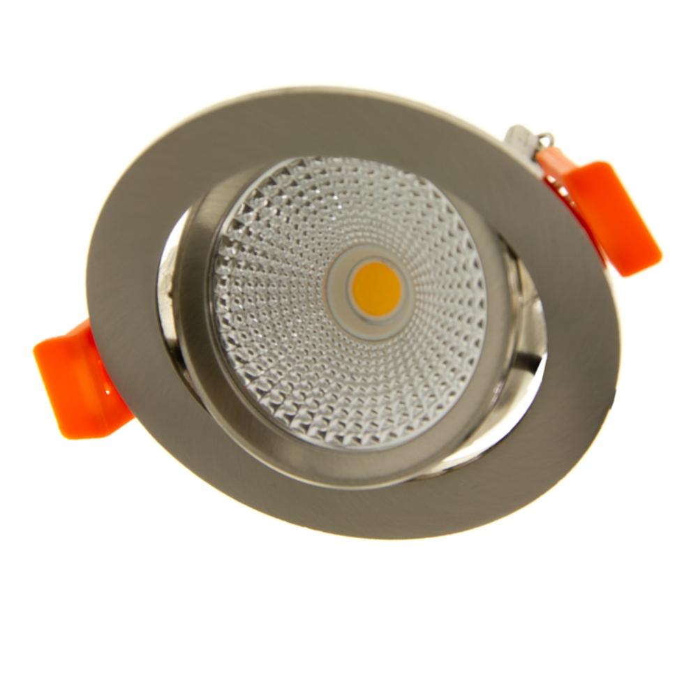 LED Inbouw spot RVS - Dimbaar - kantelbaar - lage inbouw - 75mm - warm wit - 2200K - 2700K - 3000K - gekanteld