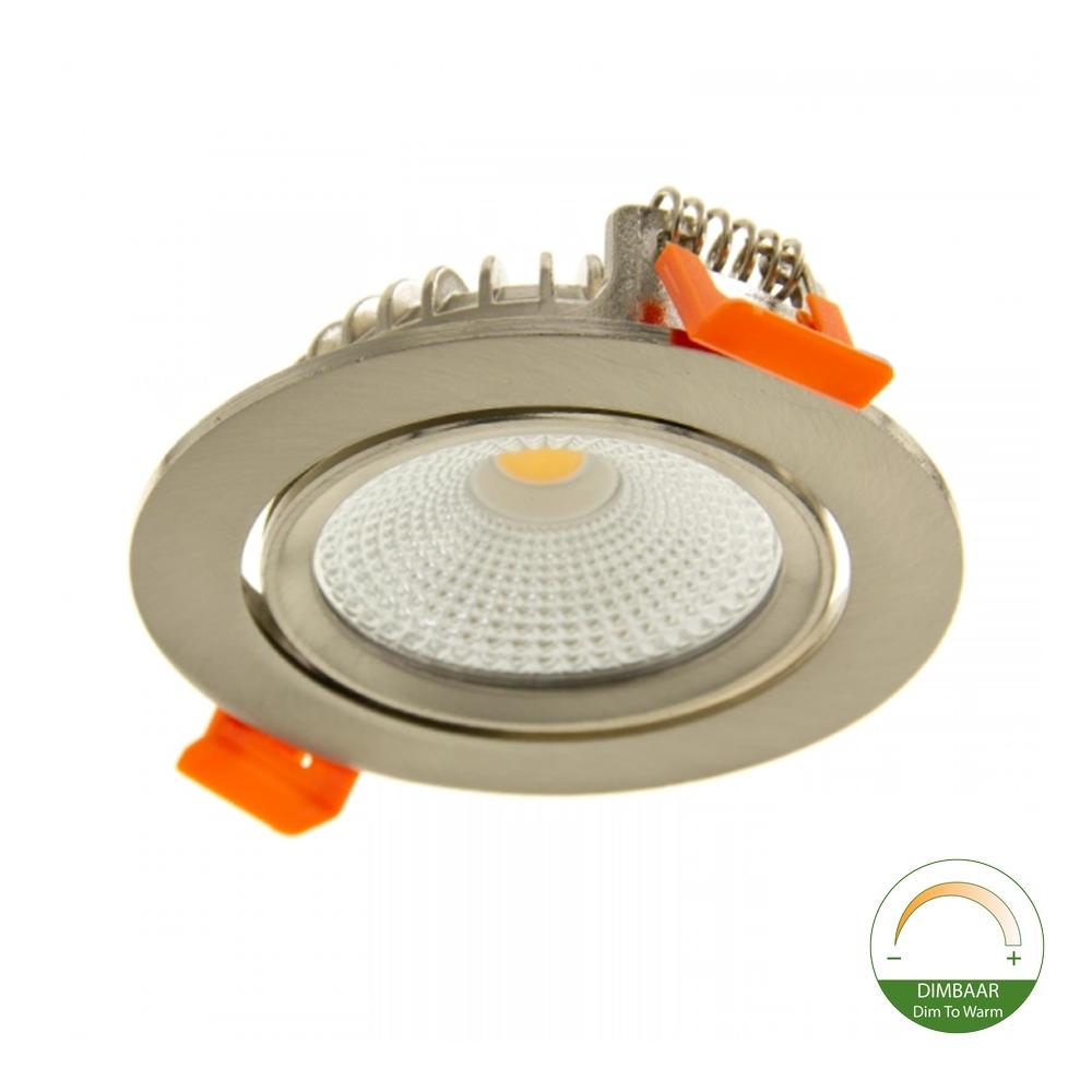 LED Inbouw spot RVS look - Dimbaar - Dim to warm - kantelbaar - lage inbouw - 75mm - nikkel - 2200K - 3000K - onderaanzicht