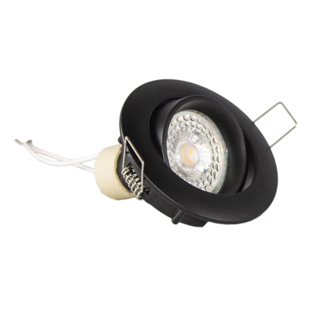 Inbouw spot zwart LED - rond - incl. GU10 fitting en GU10 spot - kantelbaar liggend