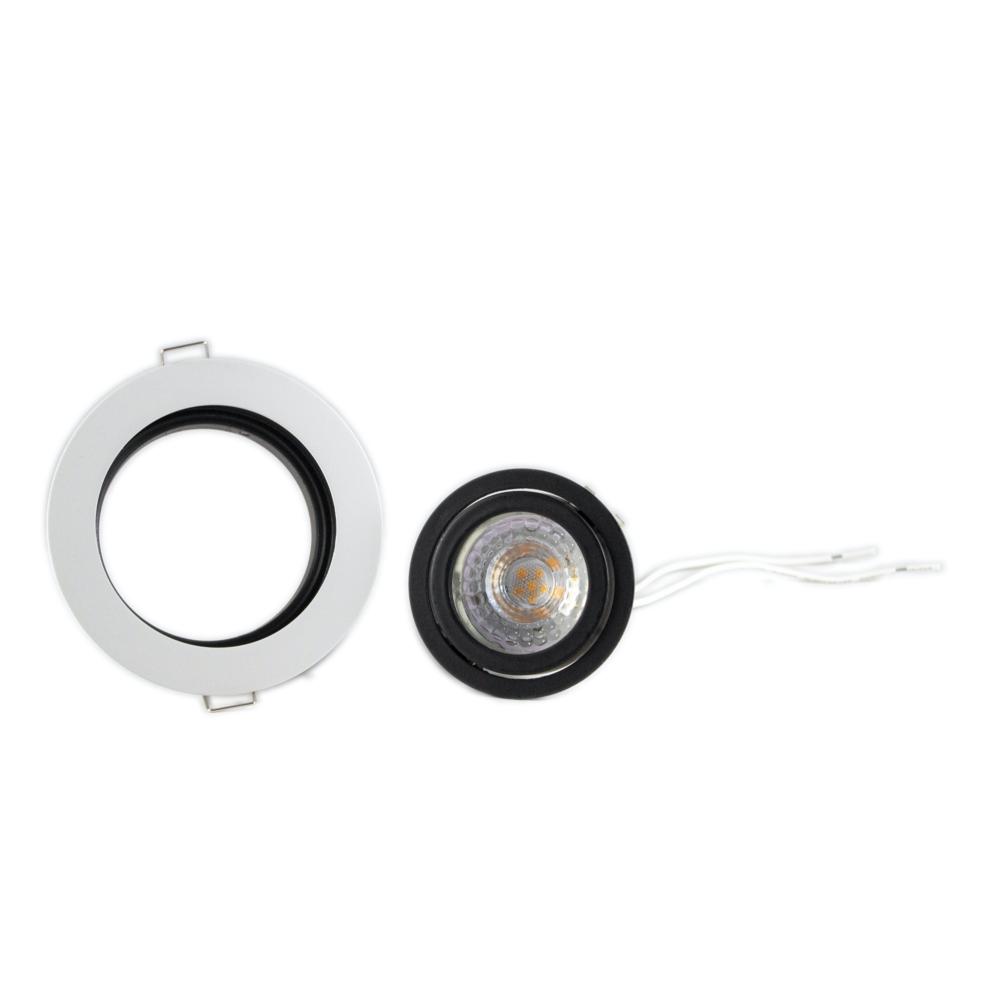 Ronde LED inbouw spot wit met zwart - dimbaar - 2700K - onderdelen