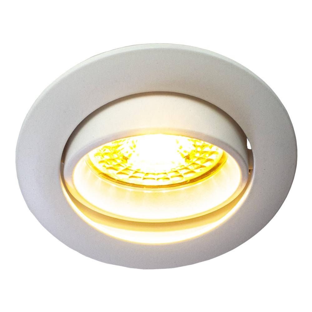 LED Inbouwspots WIT - zonder klemveer - dimbaar - 2700K - verdiept - kantelbaar - rond - vooraanzicht