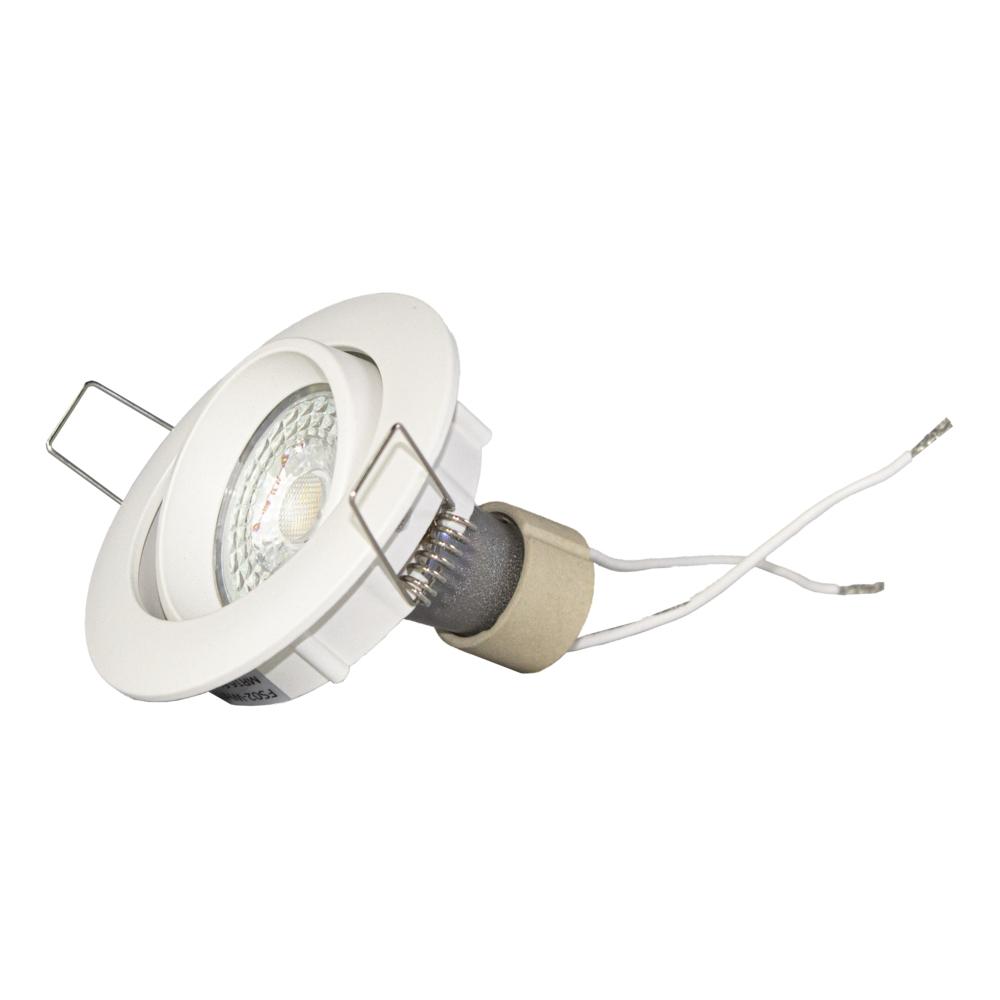 LED Inbouwspots WIT - zonder klemveer - dimbaar - 2700K - verdiept - kantelbaar - rond - zijkant