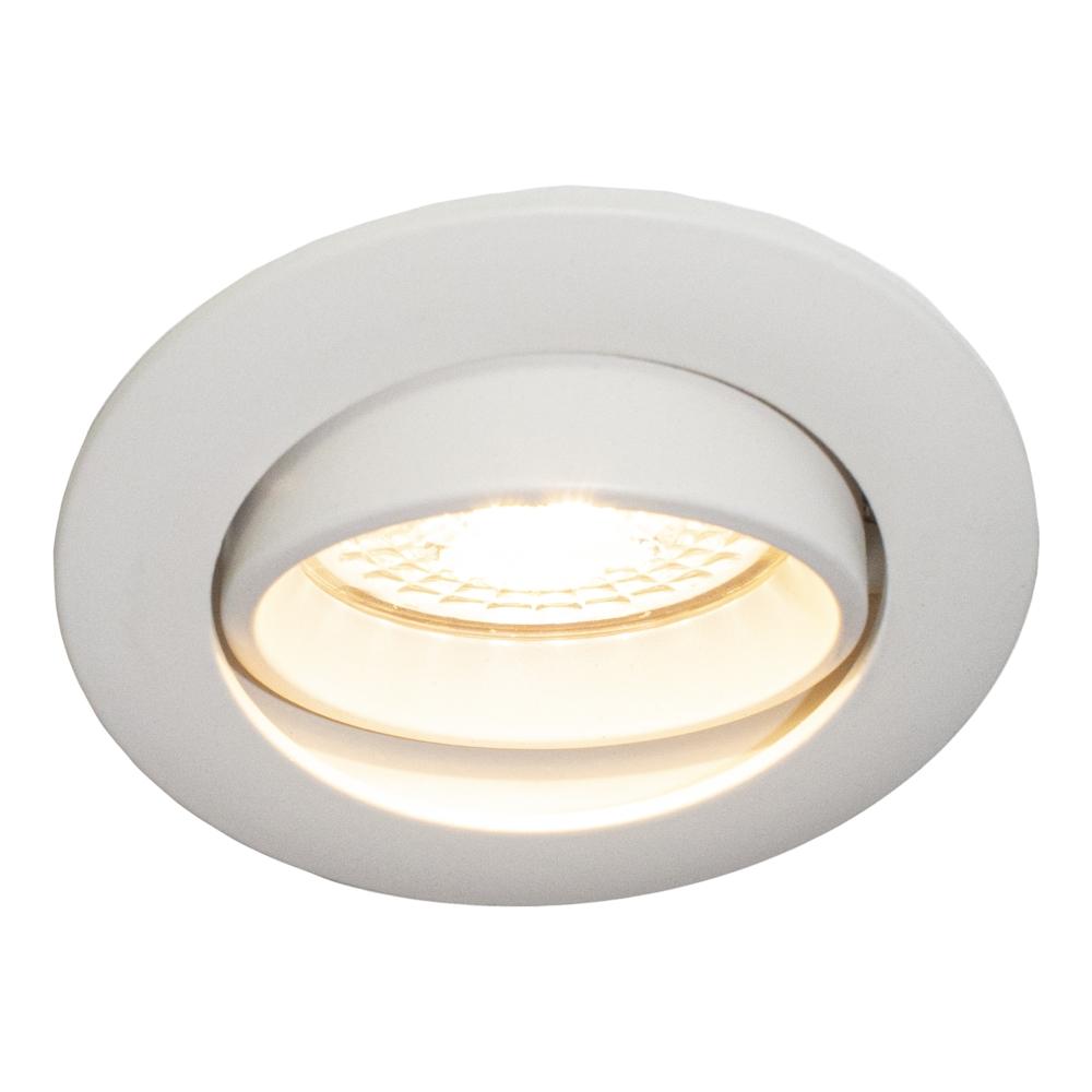 LED Inbouwspots WIT - zonder klemveer - dimbaar - 4000K - verdiept - kantelbaar - rond - vooraanzicht