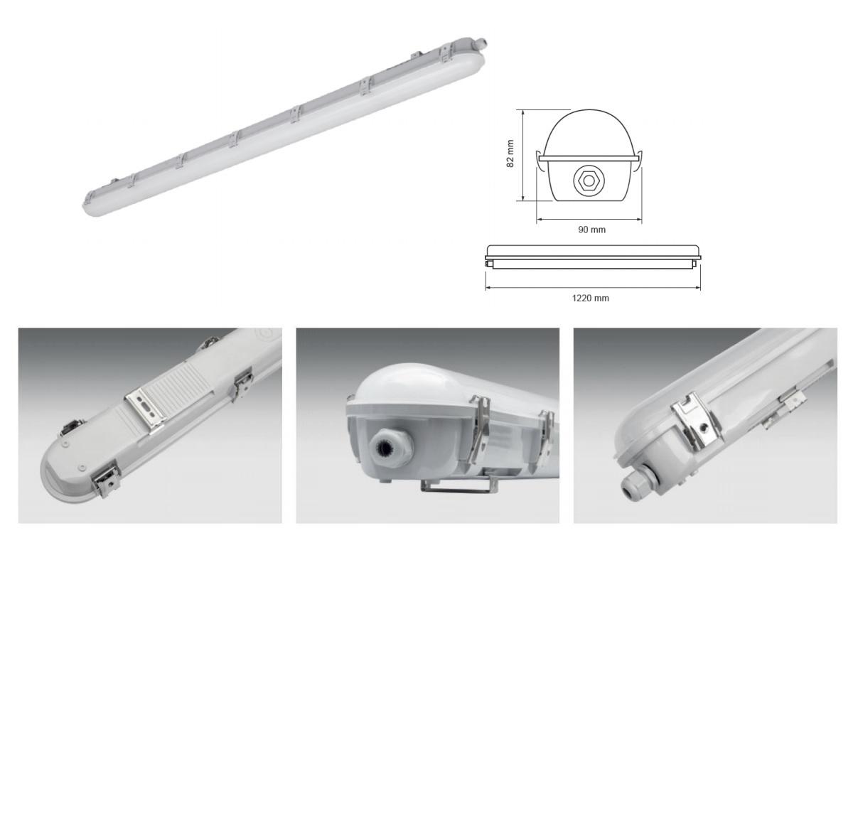 Complete TL LED armatuur batten - 120cm - 4000K naturel wit - 36 watt - pro serie - close up foto