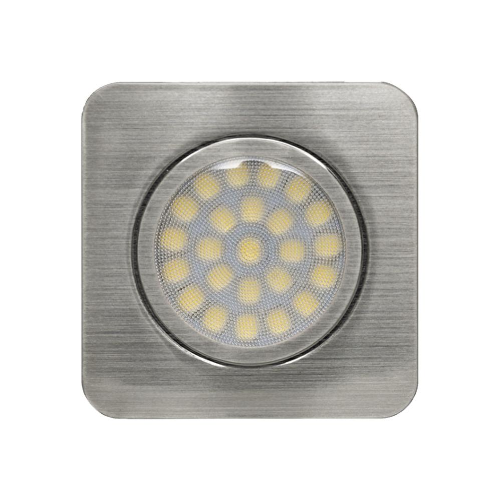 LED kastverlichting inbouwspot zilver RVS 3 Watt - vooraanzicht