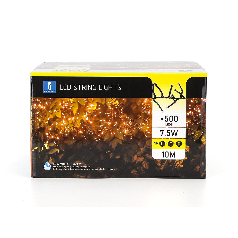 LED Kerstverlichting - clusterverlichting - 500 lampjes - 10 meter - zwart - warm wit - verpakking 2