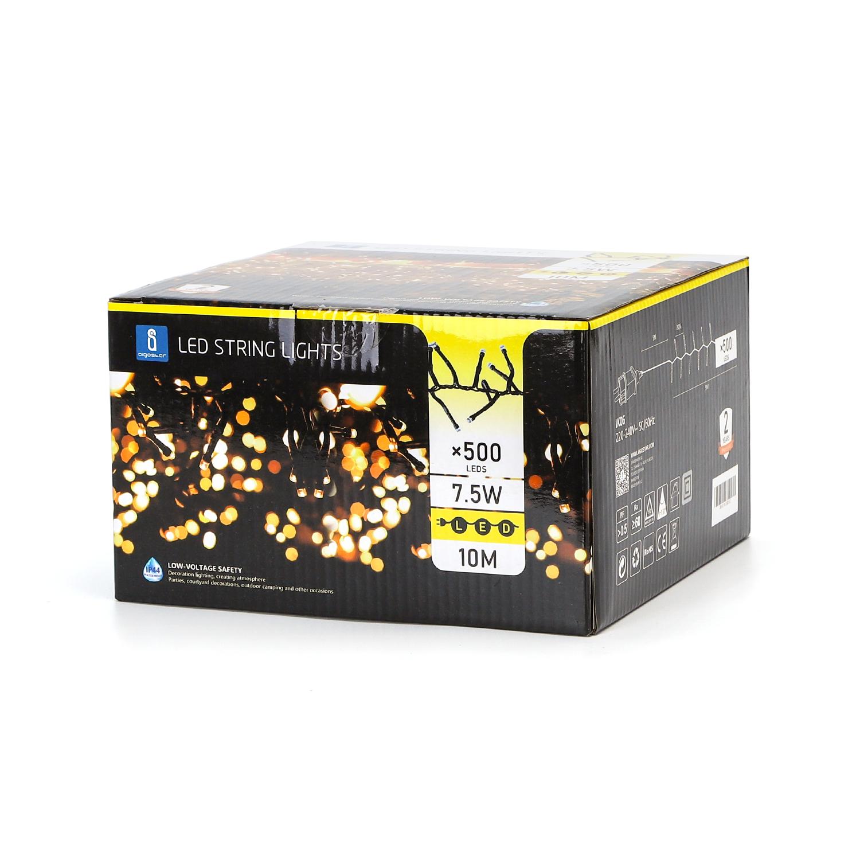 LED Kerstverlichting - clusterverlichting - 500 lampjes - 10 meter - zwart - warm wit - verpakking