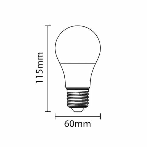 LED Lamp 10 watt grote fitting E27 A50 220V 2700K Warm wit - Afmetingen lamp