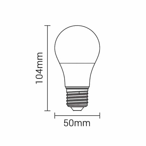 LED Lamp dimbaar 10 watt grote fitting E27 A50 220V 2700K Warm wit - Afmetingen Lamp