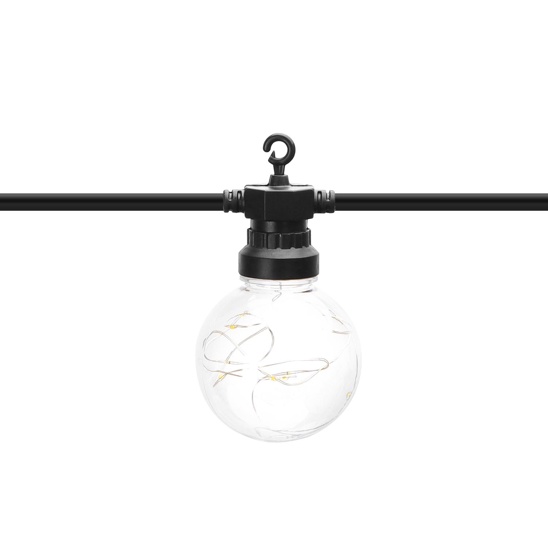 LED Lichtsnoer - prikkabel - sfeer - zwart - 8 meter - warm wit - incl. 10x LED lampen - close up