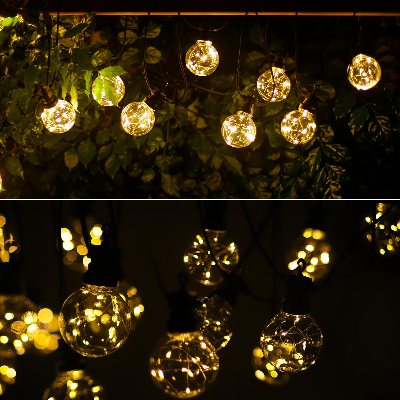 LED Lichtsnoer - prikkabel - sfeer - zwart - 8 meter - warm wit - incl. 10x LED lampen - sfeerfoto