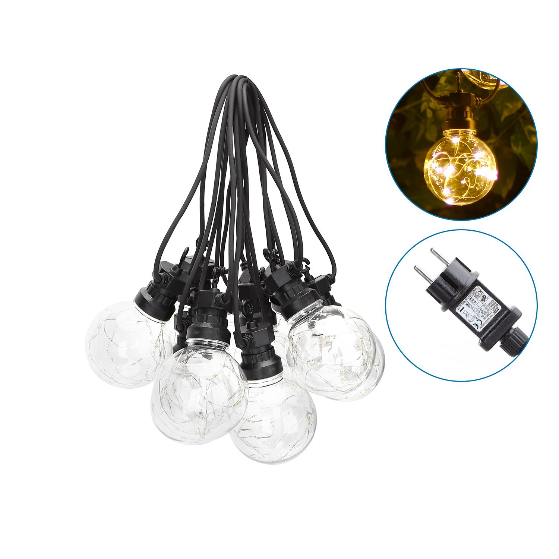 LED Lichtsnoer - prikkabel - sfeer - zwart - 8 meter - warm wit - incl. 10x LED lampen