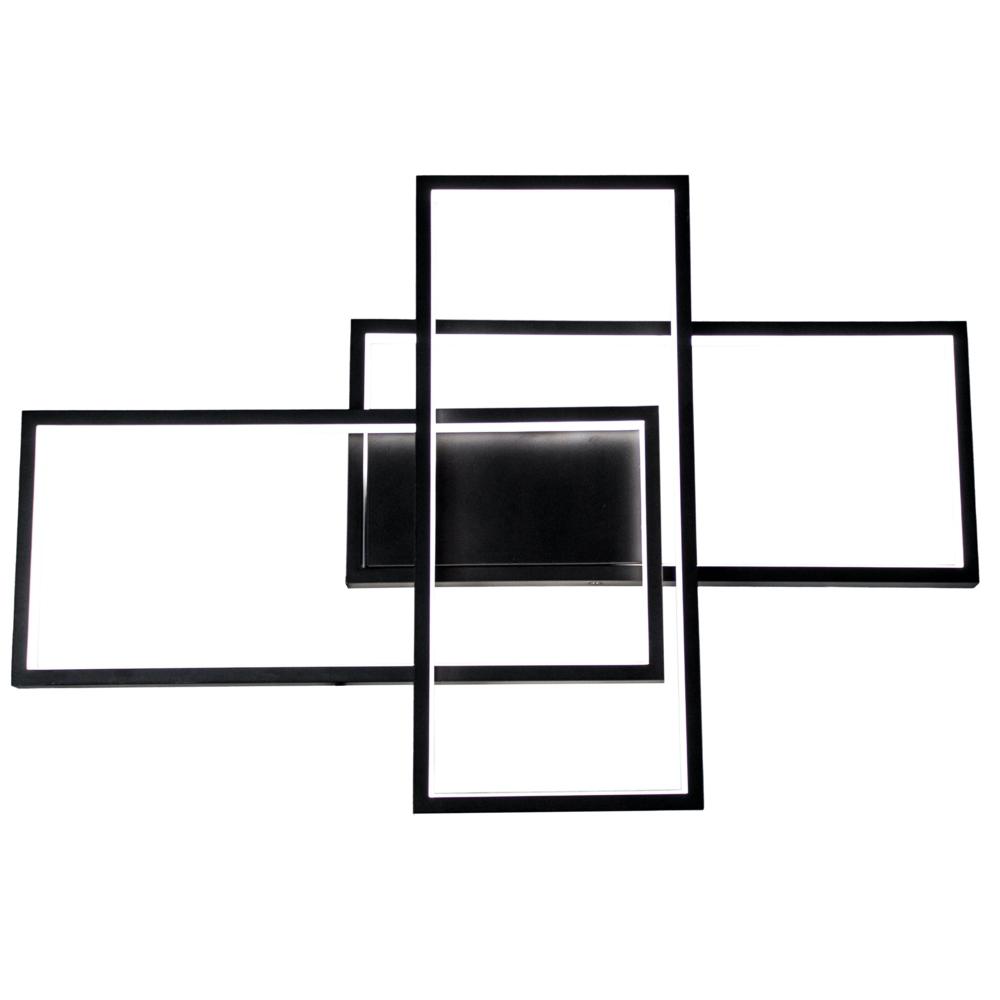 LED Plafondlamp vierkant - modern - zwart - 72 watt - dimbaar met afstandsbediening
