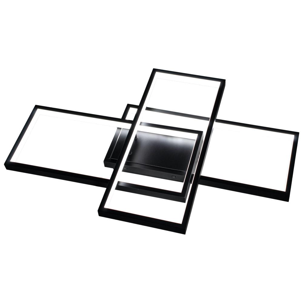 LED Plafondlamp vierkant - modern - zwart - 72 watt - dimbaar met afstandsbediening - warm wit - naturel wit - koud wit