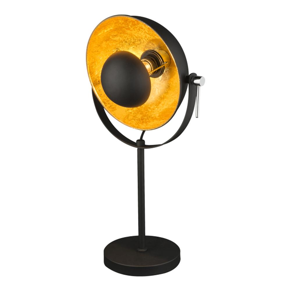 Tafellamp modern E27 fitting goud met zwart - vooraanzicht lamp