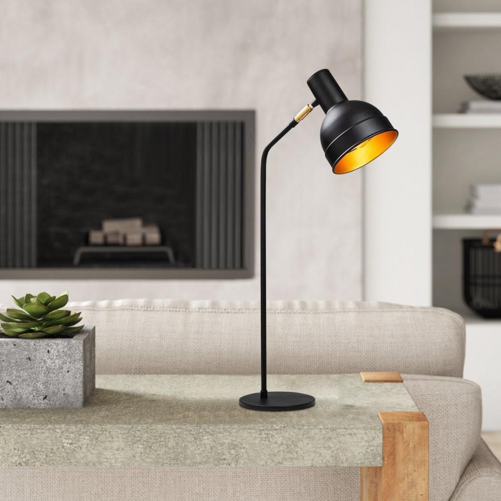LED Moderne Vloer - Tafellamp - Zwart - Goud - E27 fitting - Milo - sfeerfoto 2