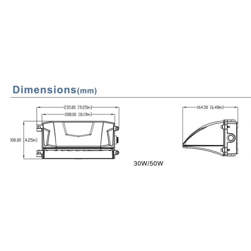 LED Wall pack industrieel - Wandlamp 30W - 5000K - Afmetingen