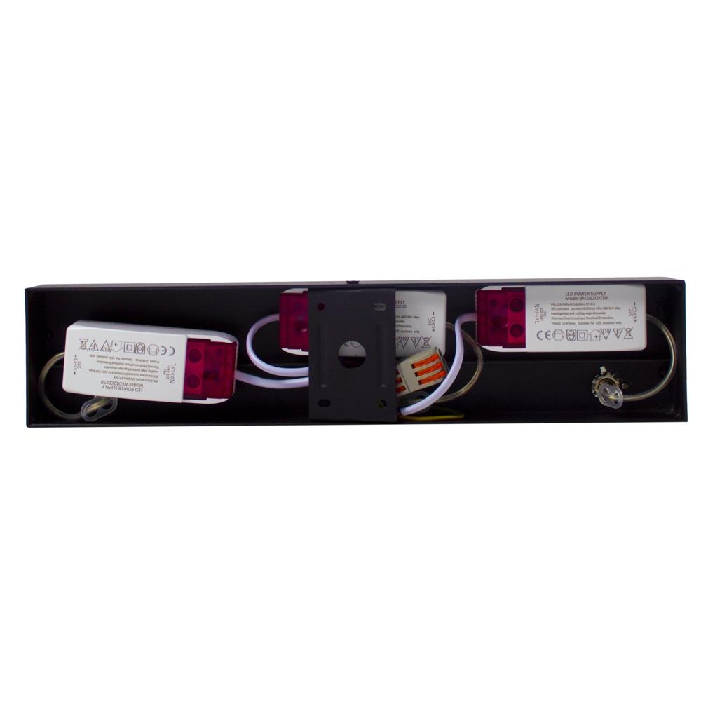 LED Opbouwspot AR111 - Driedubbel - zwart - dimbaar - Dim to warm - 2200 - 3000K - Kantelbaar - Binnenkant