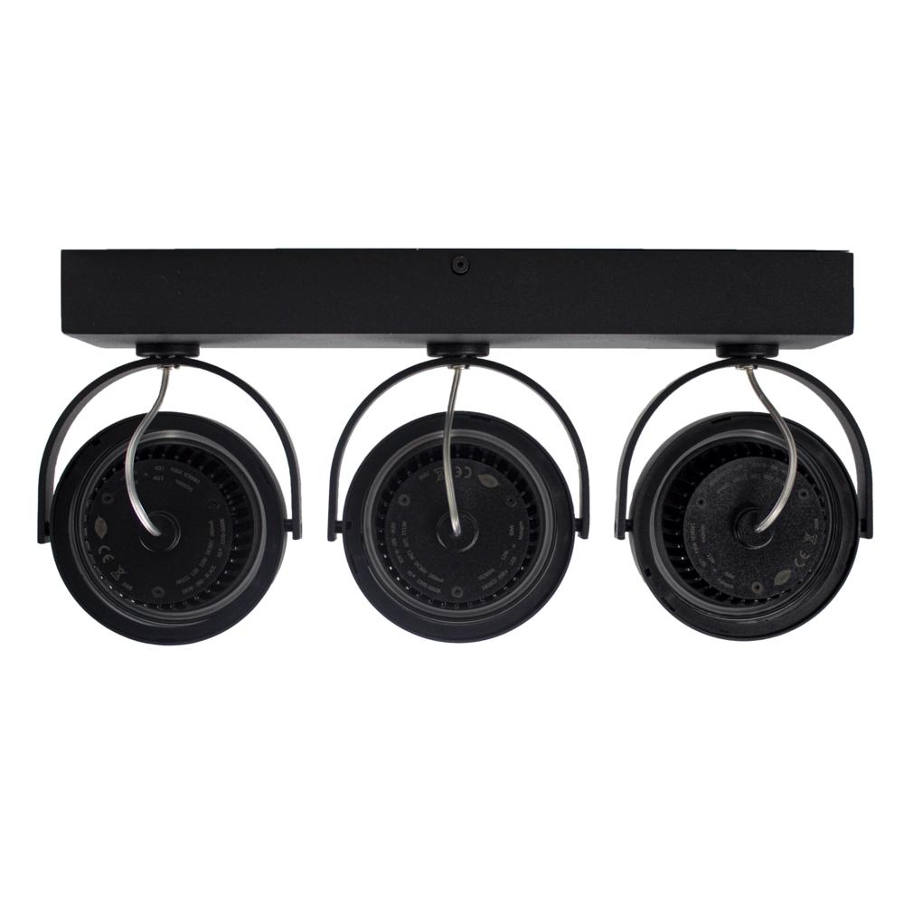 LED Opbouwspot AR111 - Driedubbel - zwart - dimbaar - Dim to warm - 2200 - 3000K - Kantelbaar - achterkant