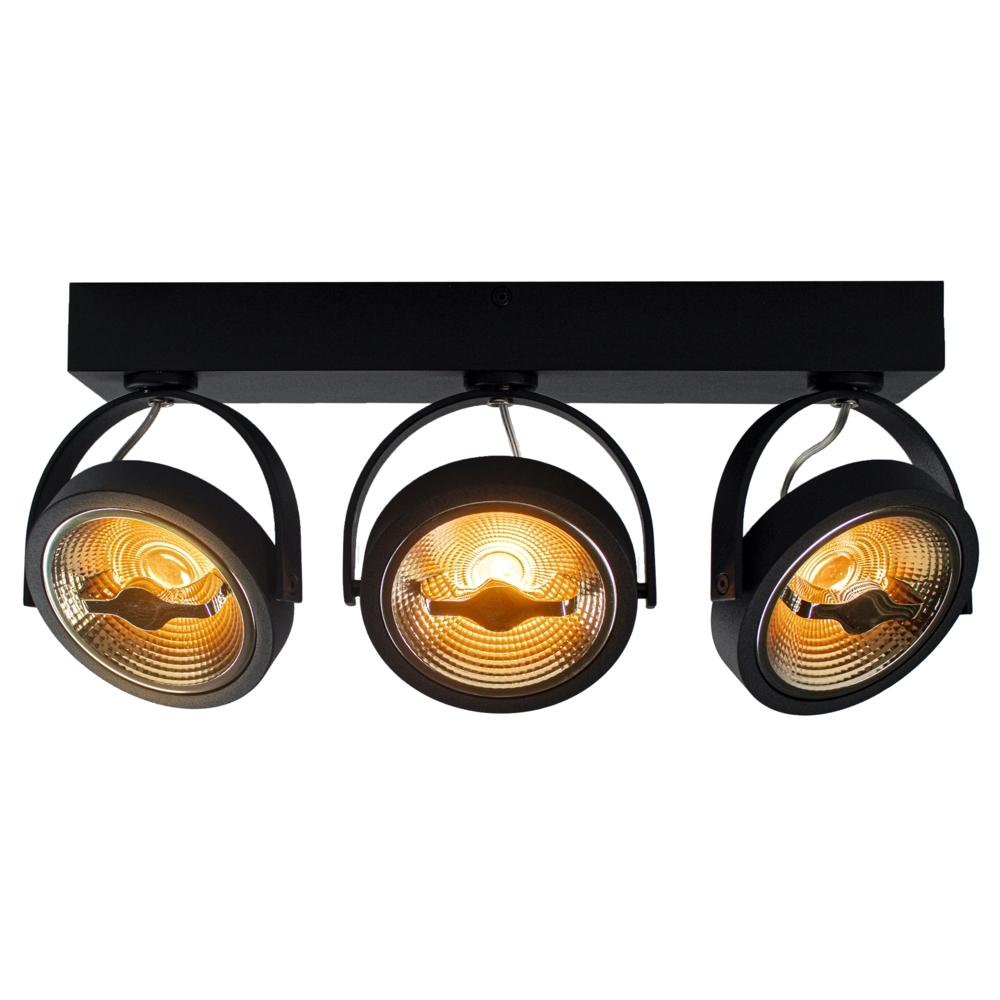 LED Opbouwspot AR111 - Driedubbel - zwart - dimbaar - Dim to warm - 2200 - 3000K - Kantelbaar - vooraanzicht