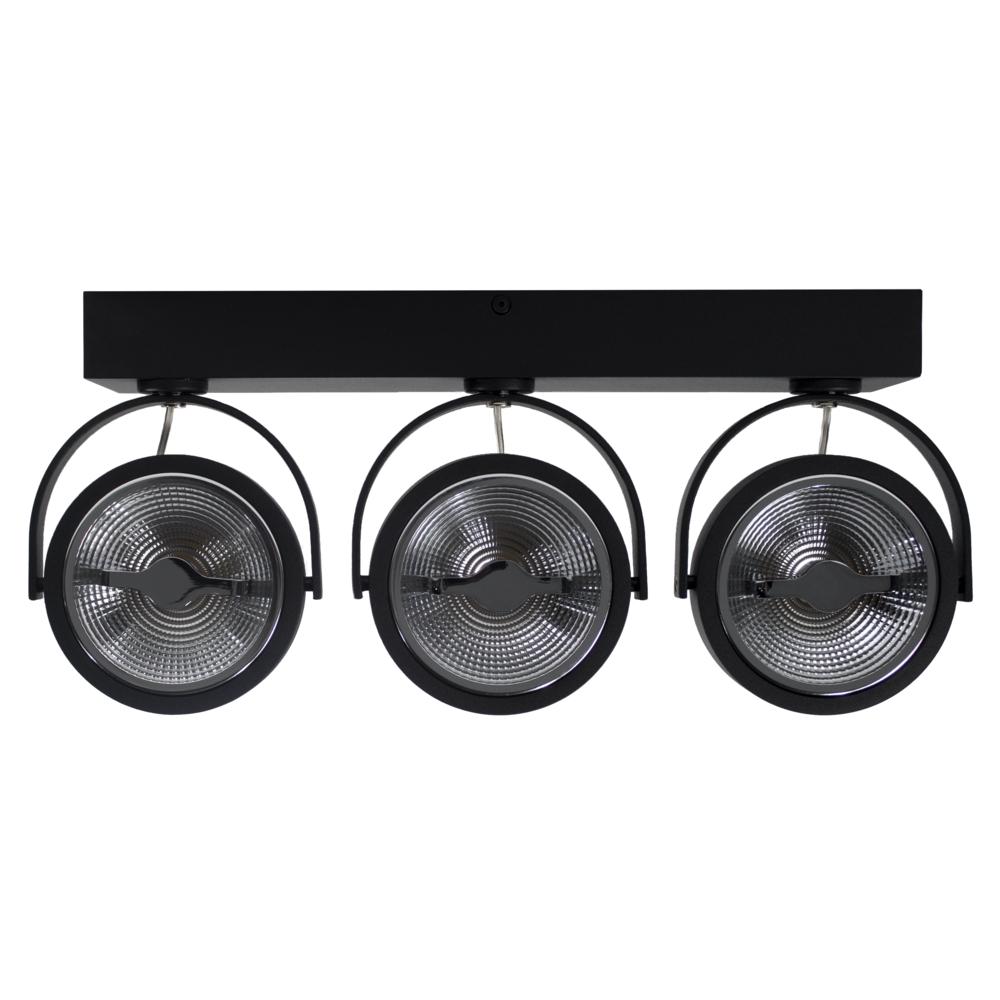 LED Opbouwspot AR111 - Driedubbel - zwart - dimbaar - Dim to warm - 2200 - 3000K - Kantelbaar - voorkant