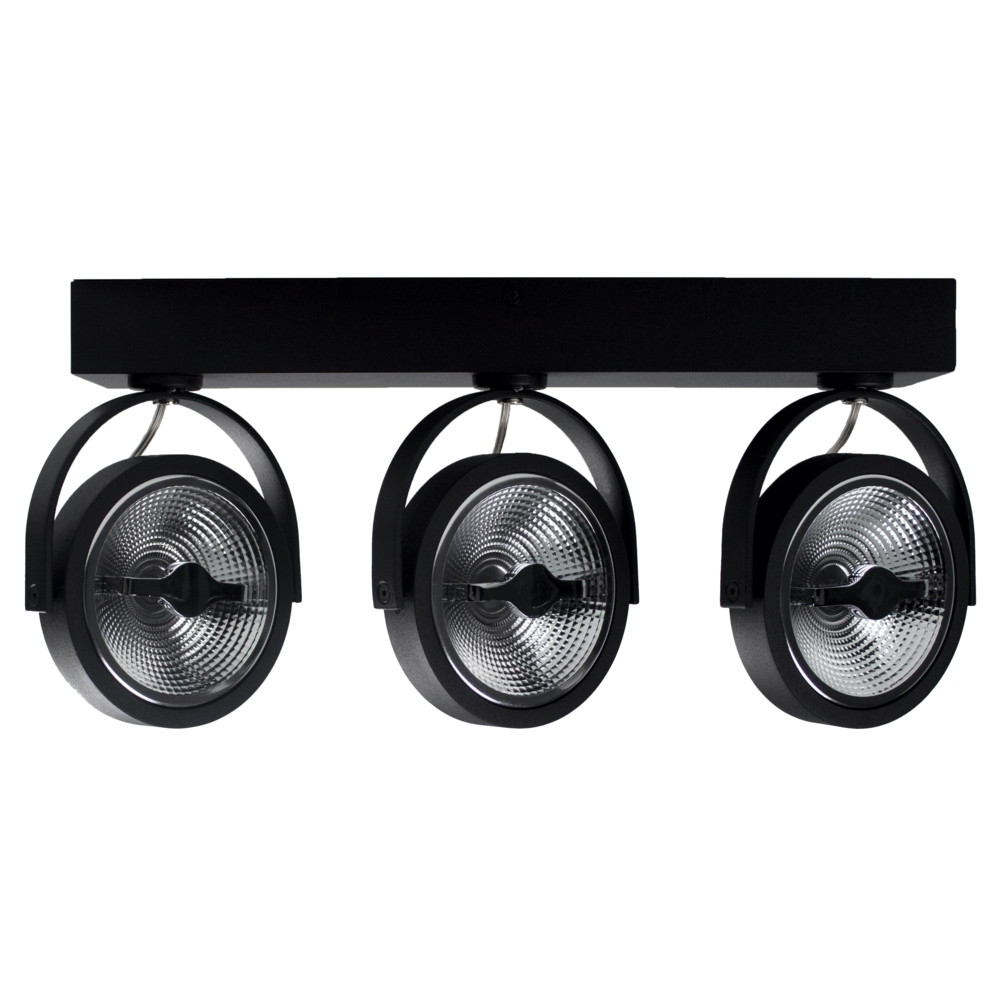 LED Opbouwspot AR111 - Driedubbel - zwart - dimbaar - Dim to warm - 2200 - 3000K - Kantelbaar - zijaanzicht