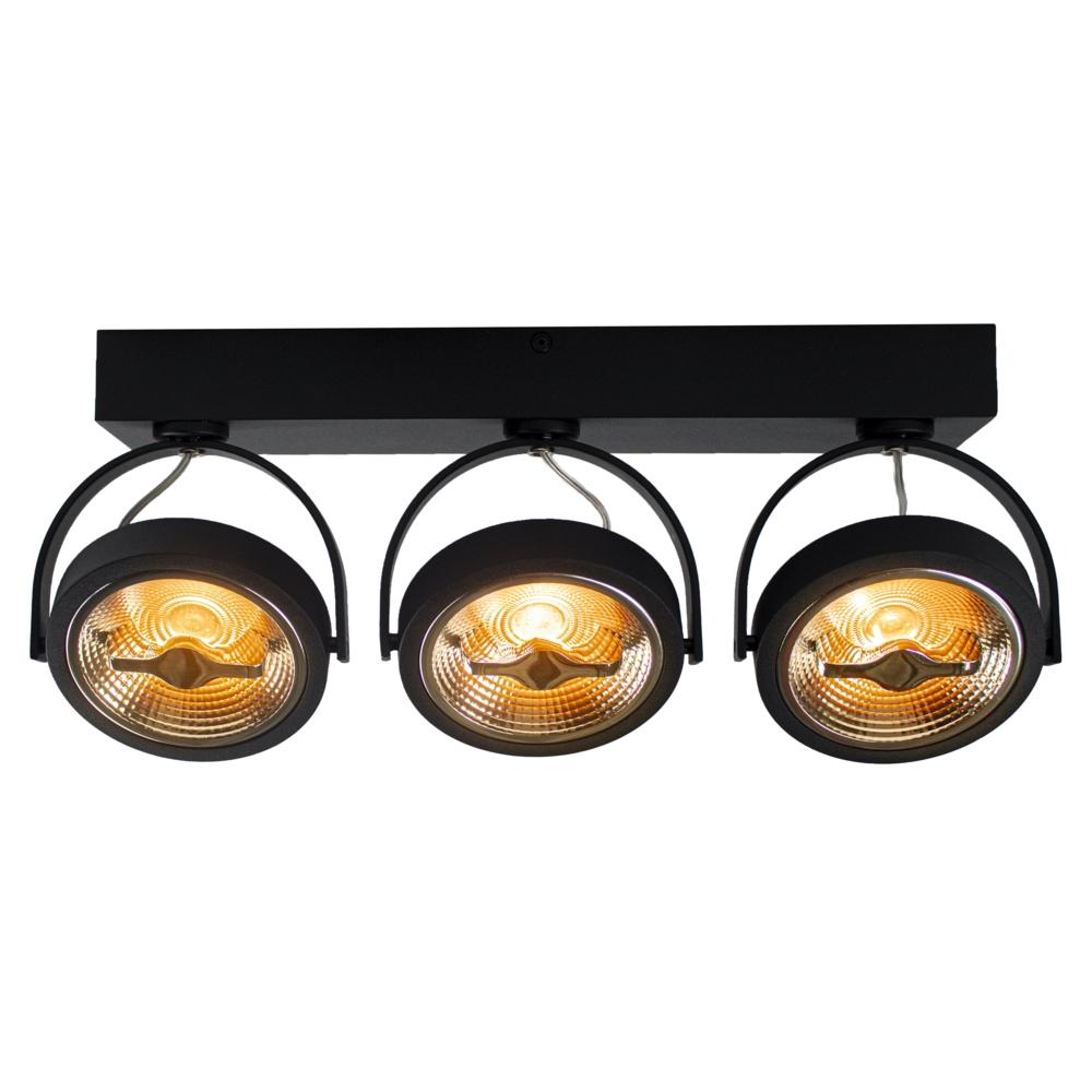 LED Opbouwspot AR111 - Driedubbel - zwart - dimbaar - Dim to warm - 2200K - Kantelbaar