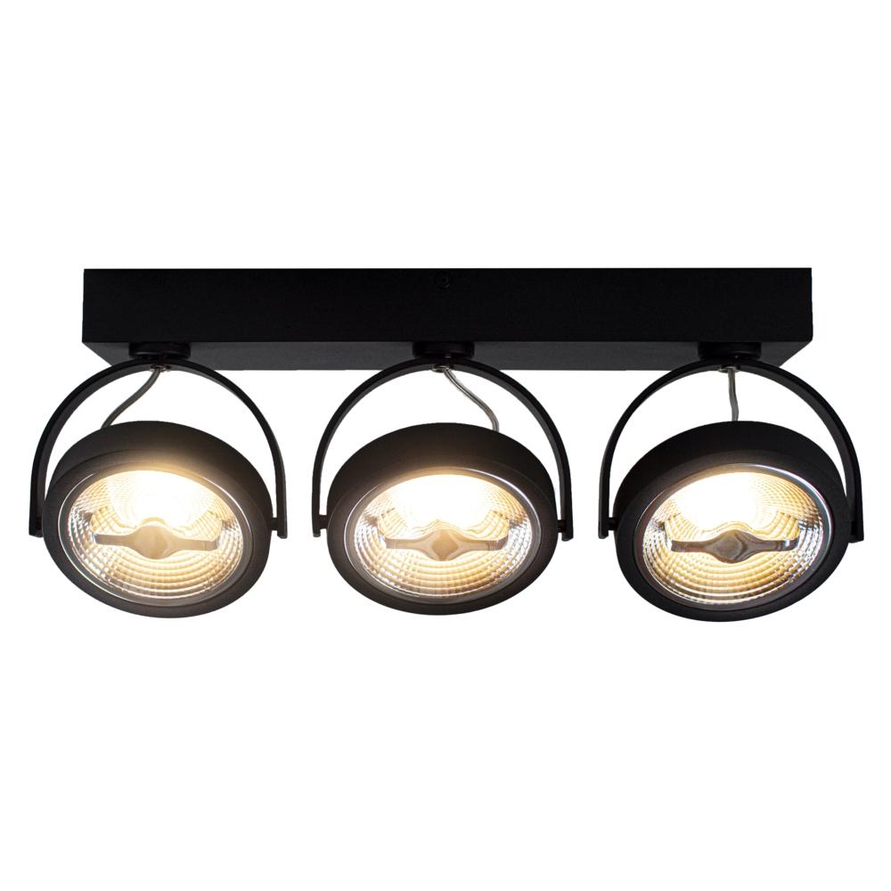 LED Opbouwspot AR111 - Driedubbel - zwart - dimbaar - Dim to warm - 3000K - Kantelbaar
