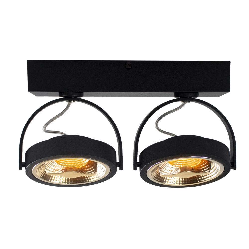 LED Opbouwspot AR111 - Dubbel - dimbaar - kantelbaar - Dim to warm - 2200K - Zwart