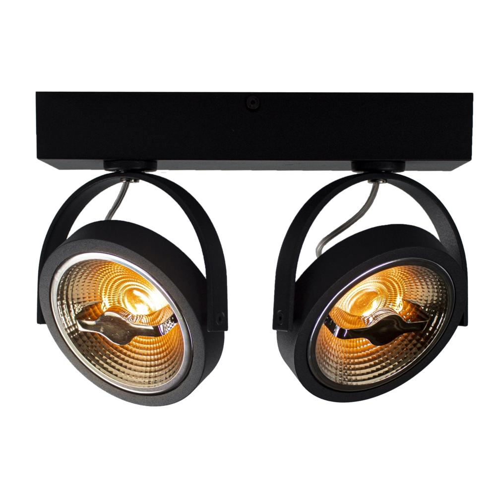 LED Opbouwspot AR111 - Dubbel - dimbaar - kantelbaar - Dim to warm - 2200K - Zwart - lampen gekanteld