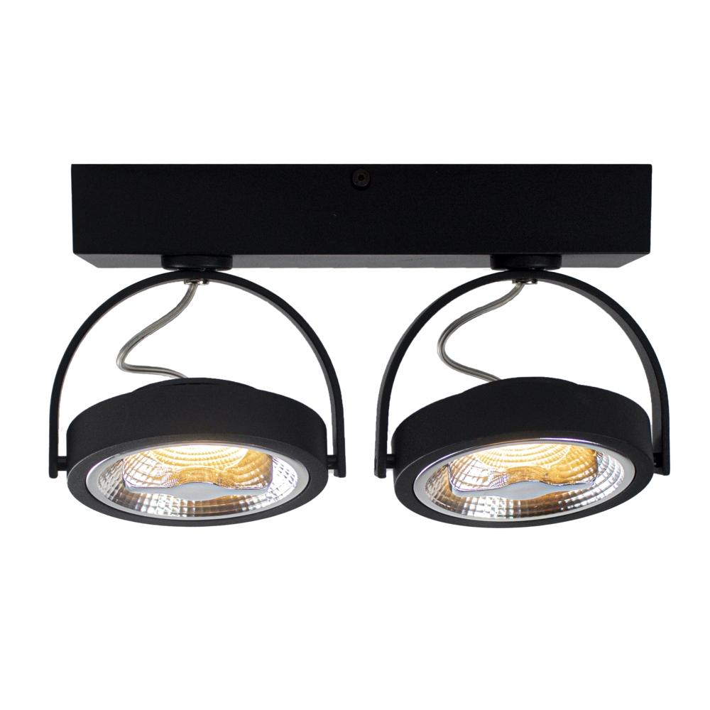 LED Opbouwspot AR111 - Dubbel - dimbaar - kantelbaar - Dim to warm - 3000K - Zwart