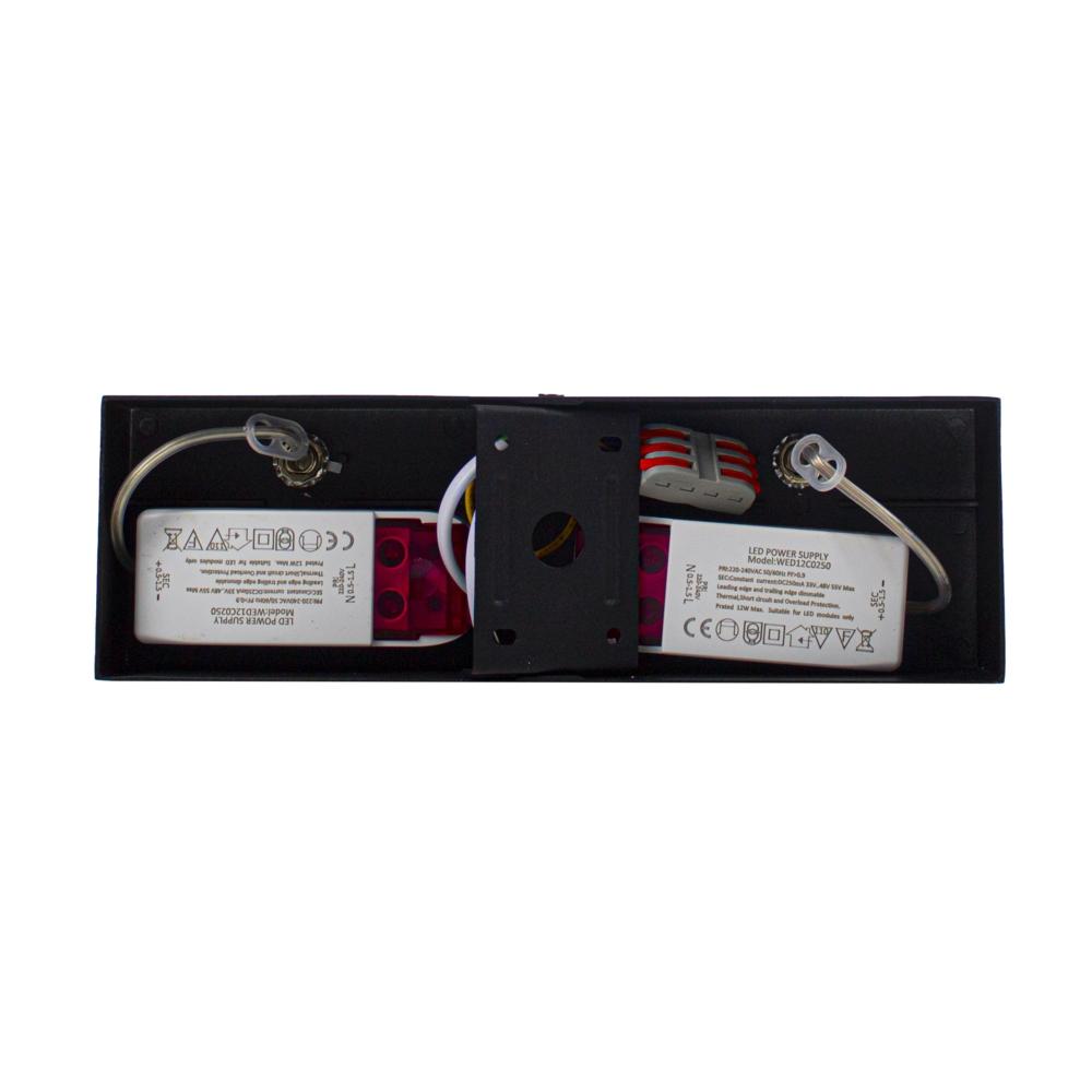 LED Opbouwspot AR111 - Dubbel - dimbaar - kantelbaar - Dim to warm - 3000K - Zwart - bovenkant
