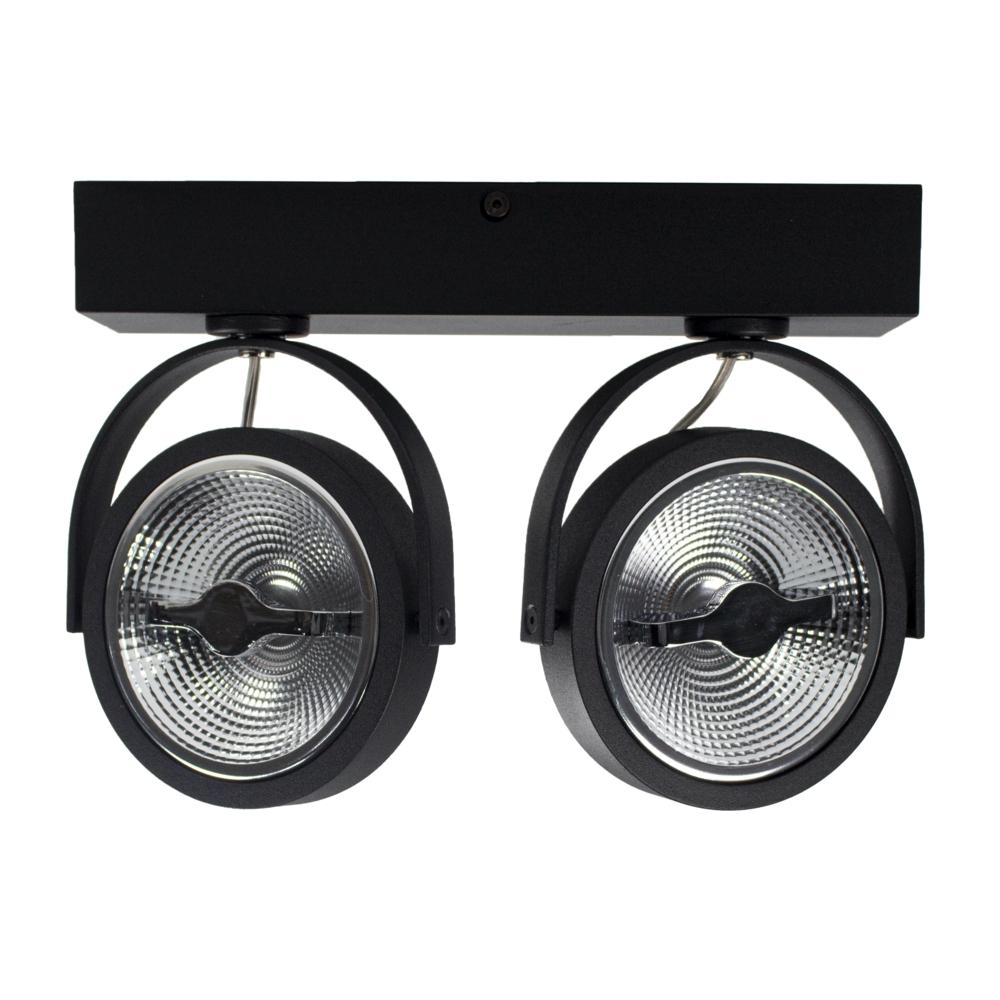 LED Opbouwspot AR111 - Dubbel - dimbaar - kantelbaar - Dim to warm - 3000K - Zwart - gekanteld