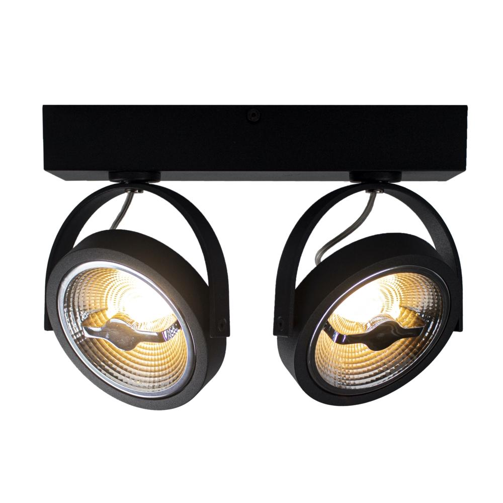 LED Opbouwspot AR111 - Dubbel - dimbaar - kantelbaar - Dim to warm - 3000K - Zwart - lampen gekanteld