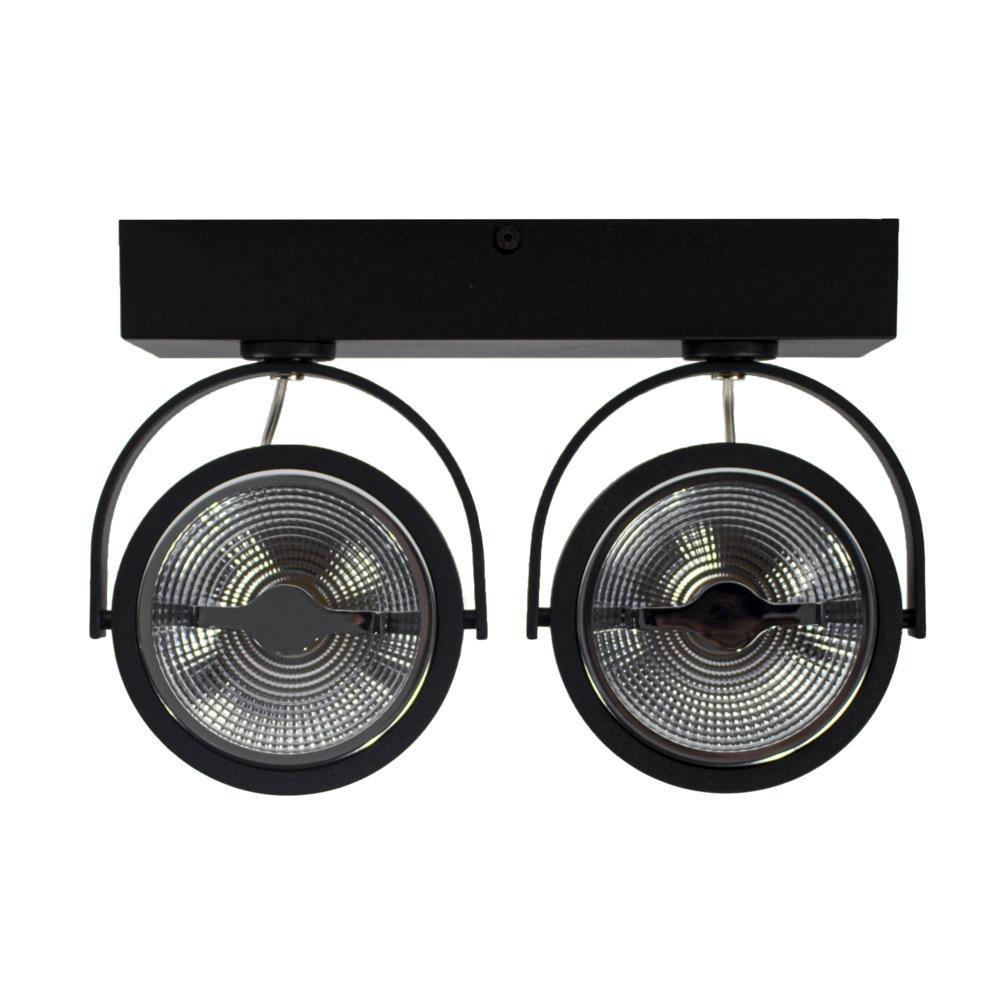 LED Opbouwspot AR111 - Dubbel - dimbaar - kantelbaar - Dim to warm - 3000K - Zwart - voorkant