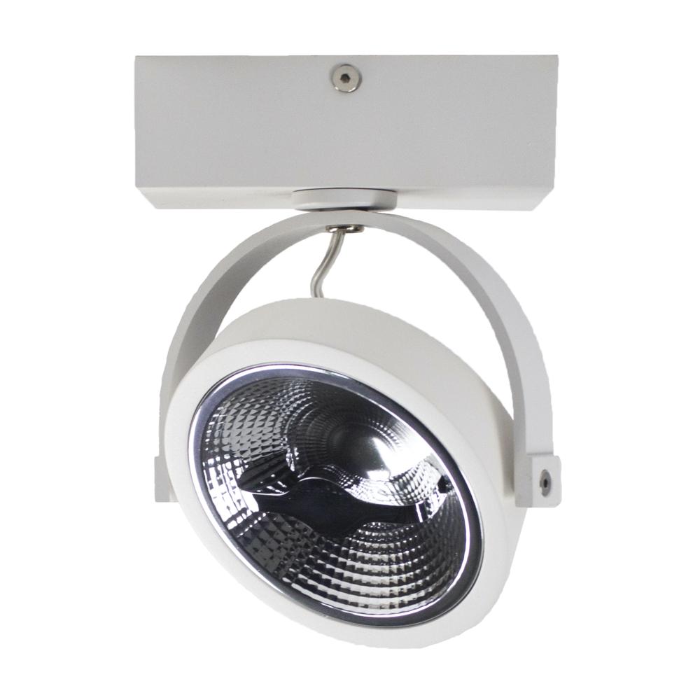 LED Opbouwspot AR111 - enkel - WIT - Dimbaar - kantelbaar - Dim to warm - 2200K -3000K - zijaanzicht