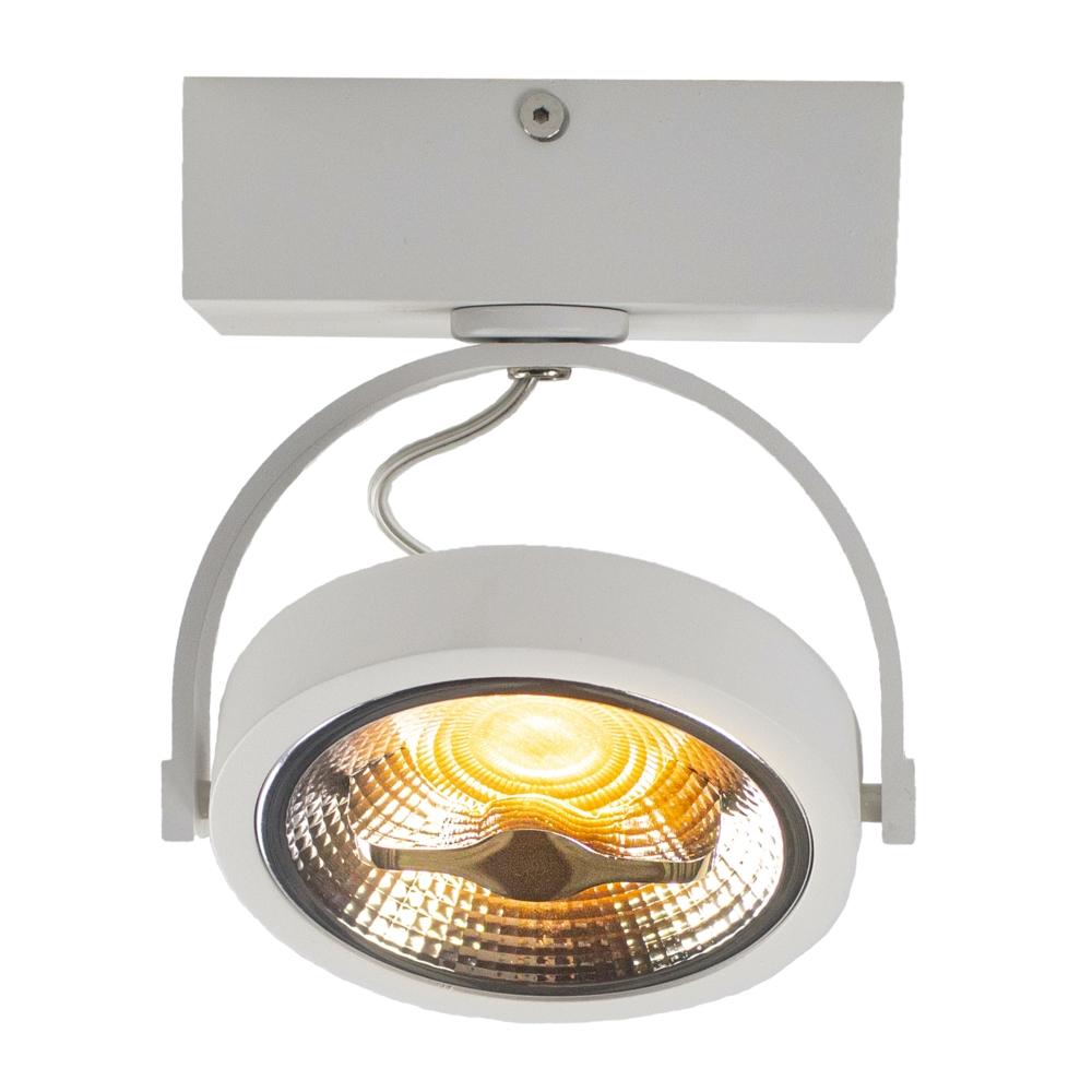 LED Opbouwspot AR111 - enkel - WIT - Dimbaar - kantelbaar - Dim to warm -2200K - voorkant gekanteld