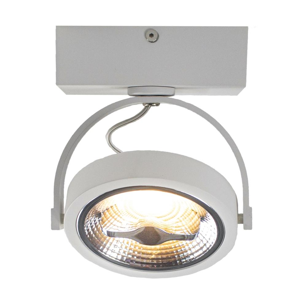 LED Opbouwspot AR111 - enkel - WIT - Dimbaar - kantelbaar - Dim to warm -3000K - voorkant gekanteld