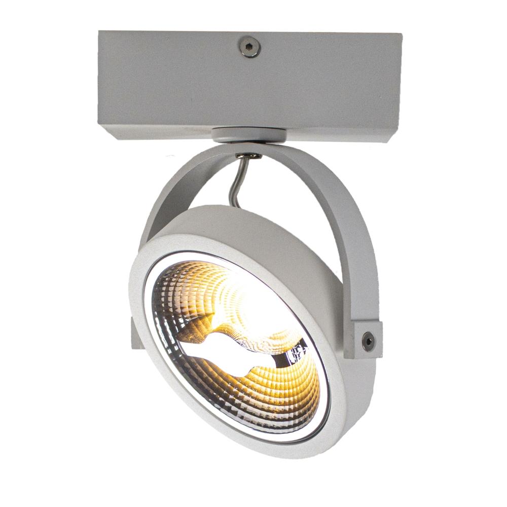 LED Opbouwspot AR111 - enkel - WIT - Dimbaar - kantelbaar - Dim to warm -3000K - zijkant