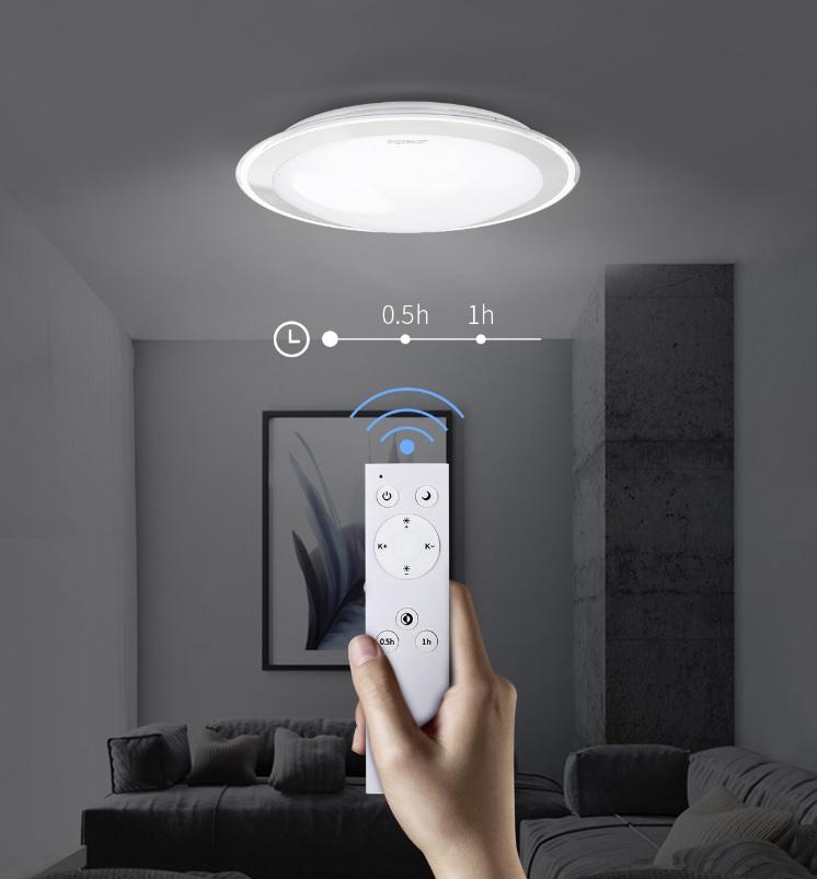LED Plafondlamp met zilver rand dimbaar 30W en 60W CCT Kleurwissel - met afstandsbediening