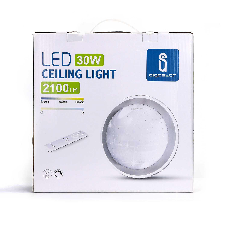 LED Plafondlamp met zilver rand dimbaar 30W CCT Kleurwissel - verpakking