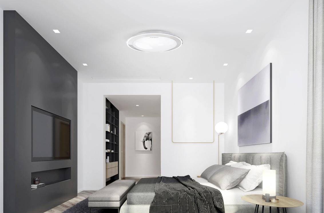 LED Plafondlamp met zilver rand dimbaar 30W en 60W CCT Kleurwissel - sfeerfoto