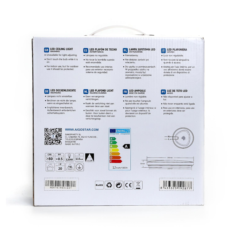LED Plafondlamp rond wit - Flatline - 12W - verpakking / doos