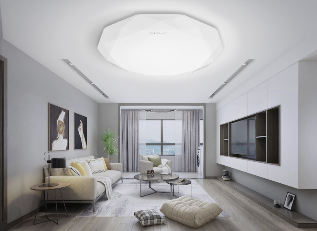 LED Plafondlamp rond diamond - 12 watt - 20 watt - sfeerfoto