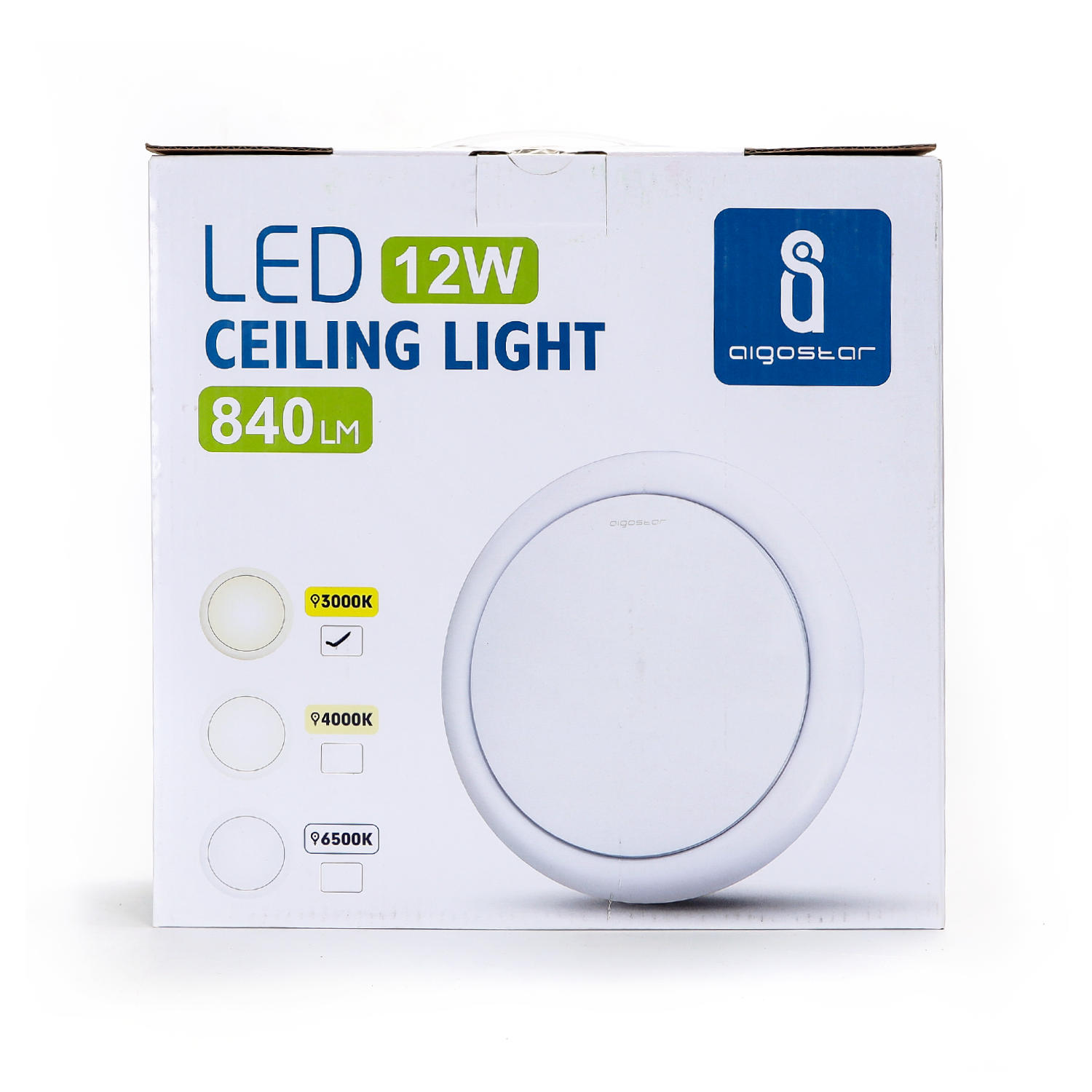 LED Plafond / ceiling lamp rond wit 12W - verpakking - 3000K warm wit