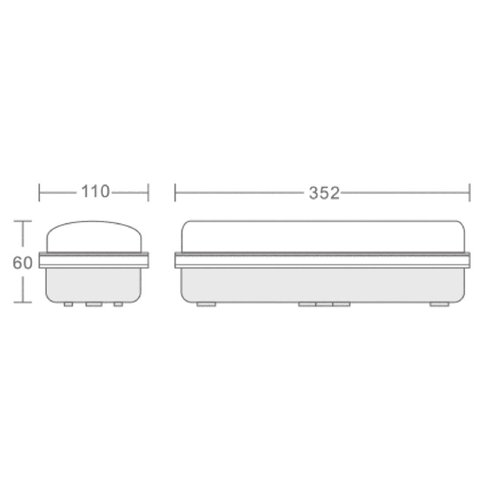 Led portiek armatuur IP65 4000K - naturel wit - afmetingen