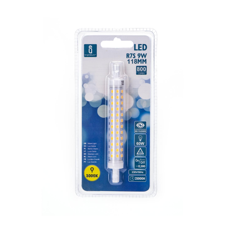 LED R7s lamp - 118mm - 3000K warm wit - 15mm diameter - voorkant verpakking