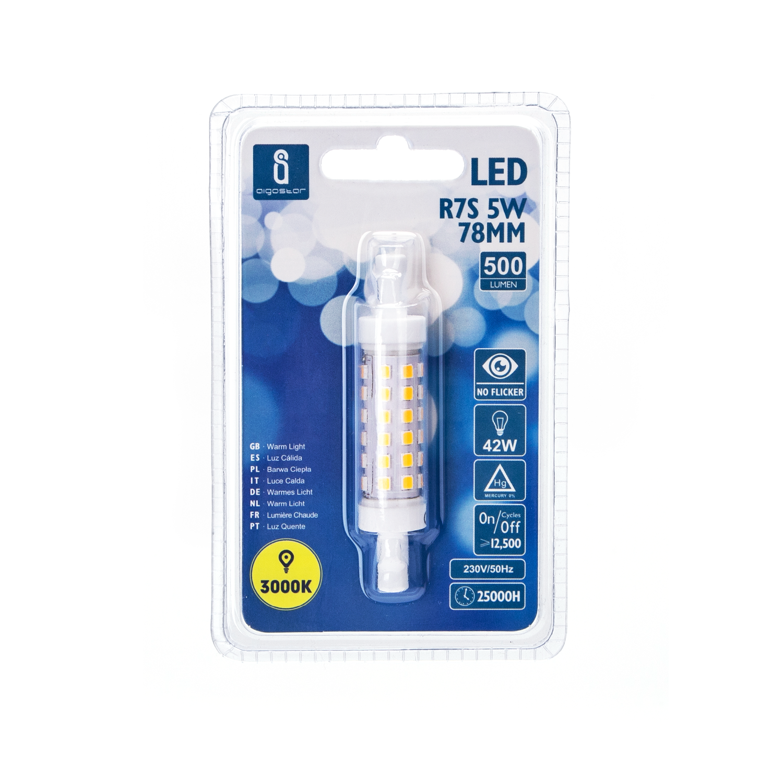 LED R7s lamp - 76mm - 3000K warm wit - 15mm diameter - voorkant verpakking