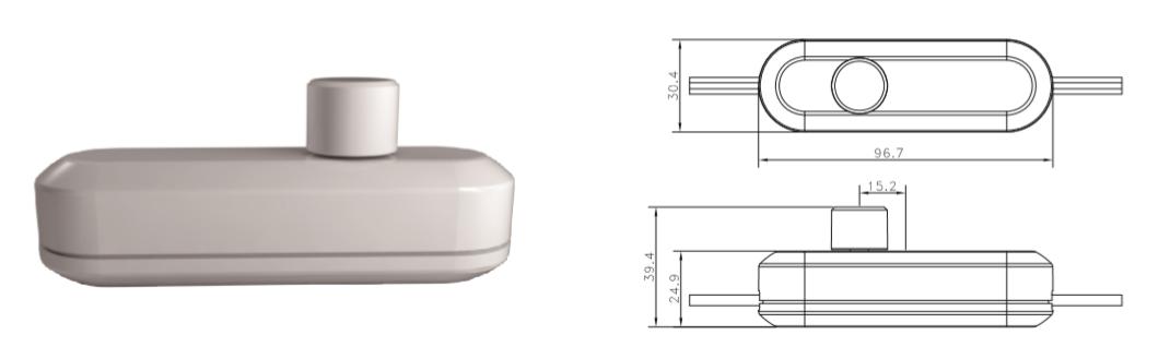 LED Snoerdimmer 0-50W - WIT - tekening